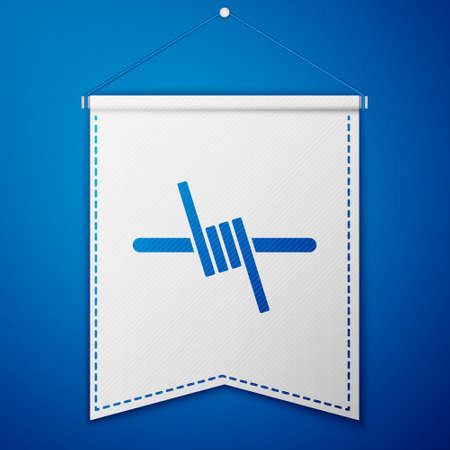 Blue Barbed wire icon isolated on blue background. White pennant template. Vector