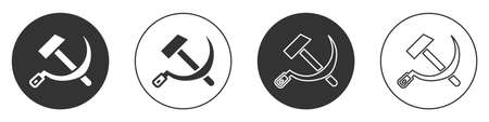 Black Hammer and sickle USSR icon isolated on white background. Symbol Soviet Union. Circle button. Vector