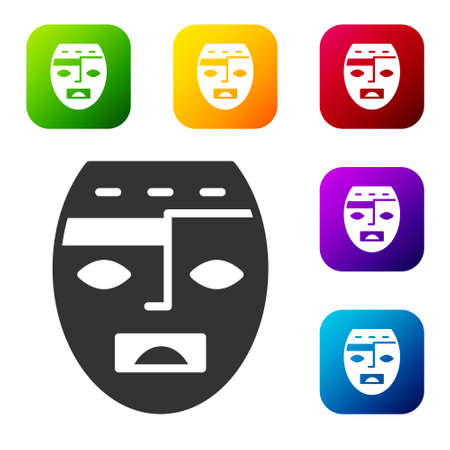 Black Mexican mayan or aztec mask icon isolated on white background. Set icons in color square buttons. Vector