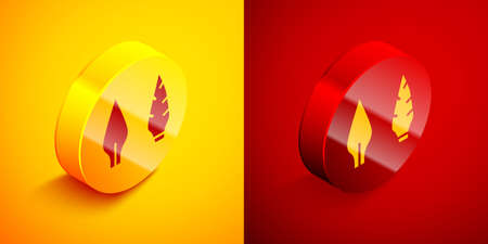 Isometric Stone age arrow head icon isolated on orange and red background. Medieval weapon. Circle button. Vector