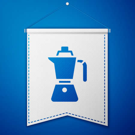 Blue Coffee maker moca pot icon isolated on blue background. White pennant template. Vector Иллюстрация