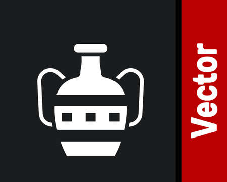 White Ancient amphorae icon isolated on black background. Vector