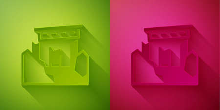 Paper cut Ancient ruins icon isolated on green and pink background. Paper art style. Vector