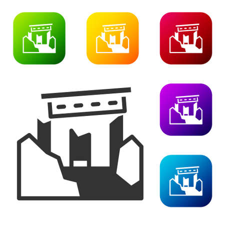 Black Ancient ruins icon isolated on white background. Set icons in color square buttons. Vector