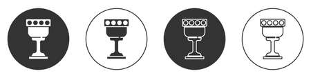 Black Medieval goblet icon isolated on white background. Holy grail. Circle button. Vector Vectores