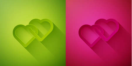 Paper cut Two Linked Hearts icon isolated on green and pink background. Romantic symbol linked, join, passion and wedding. Valentine day symbol. Paper art style. Vector