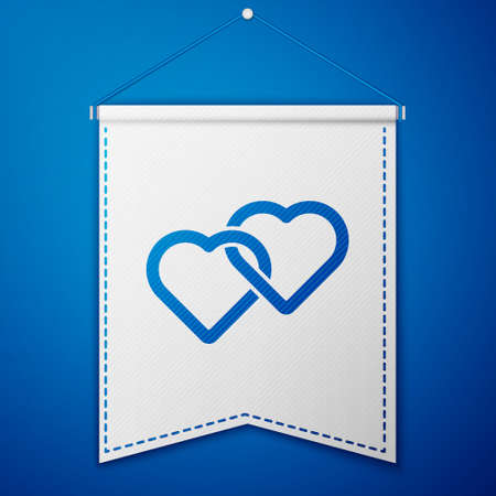 Blue Two Linked Hearts icon isolated on blue background. Romantic symbol linked, join, passion and wedding. Valentine day symbol. White pennant template. Vector