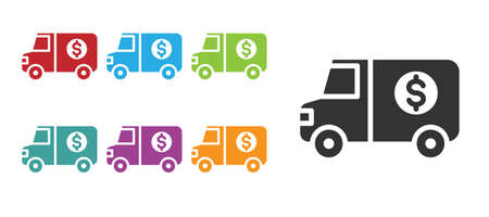 Black Armored truck icon isolated on white background. Set icons colorful. Vector 向量圖像