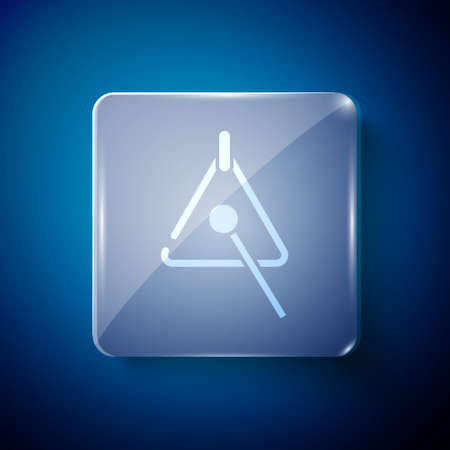 White Triangle musical instrument icon isolated on blue background. Square glass panels. Vector