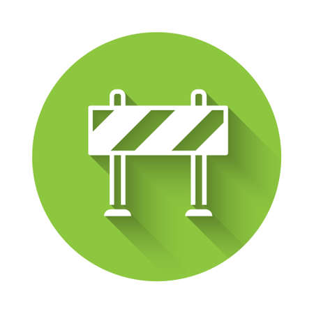 White Road barrier icon isolated with long shadow. Symbol of restricted area which are in under construction processes. Repair works. Green circle button. Vector Stock Illustratie