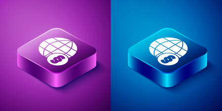 Isometric International law icon isolated on blue and purple background. Global law. Legal justice verdict world. Square button. Vector