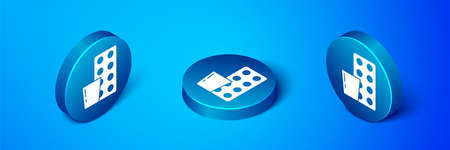 Isometric Pills in blister pack icon isolated on blue background. Medical drug package for tablet, vitamin, antibiotic, aspirin. Blue circle button. Vector