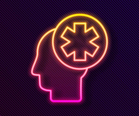Glowing neon line Male head with hospital icon isolated on black background. Head with mental health, healthcare and medical sign. Vector Illustration