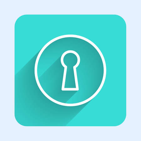 White line Keyhole icon isolated with long shadow. Key of success solution. Keyhole express the concept of riddle, secret, security. Green square button. Vector Illustration