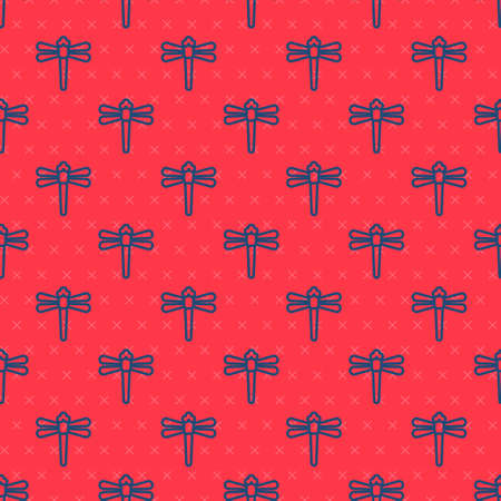 Blue line Dragonfly icon isolated seamless pattern on red background. Vector 向量圖像