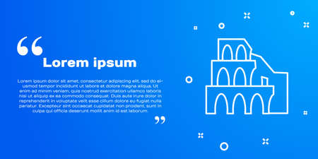 White line Coliseum in Rome, Italy icon isolated on blue background. Colosseum sign. Symbol of Ancient Rome, gladiator fights. Vector