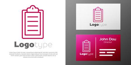 Logotype line Sport training program or fitness plan icon isolated on white background. Logo design template element. Vector