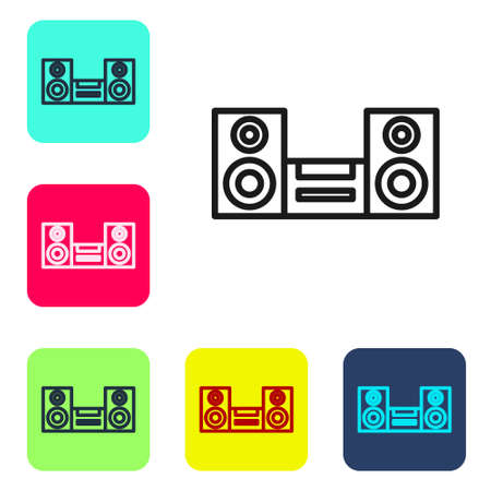 Black line Home stereo with two speaker s icon isolated on white background. Music system. Set icons in color square buttons. Vector