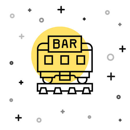 Black line Restaurant train icon isolated on white background. Random dynamic shapes. Vector
