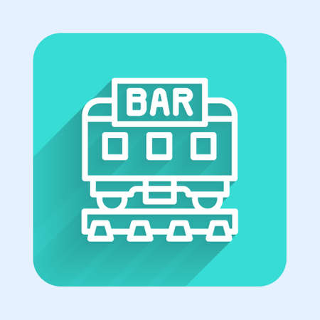 White line Restaurant train icon isolated with long shadow. Green square button. Vector