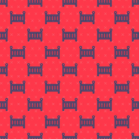 Blue line Baby crib cradle bed icon isolated seamless pattern on red background. Vector