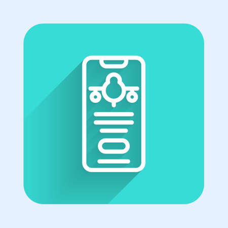 White line Smartphone with electronic boarding pass airline ticket icon isolated with long shadow. Passenger plane mobile ticket for web and app. Green square button. Vector