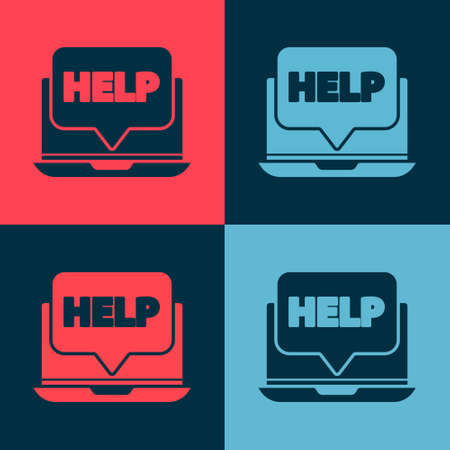 Pop art Laptop and help icon isolated on color background. Adjusting, service, setting, maintenance, repair, fixing. Vector Illustration