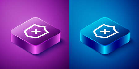 Isometric Shield with cross mark icon isolated on blue and purple background. Shield and rejected. Notice of refusal. Square button. Vector