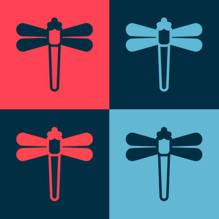 Pop art Dragonfly icon isolated on color background. Vector