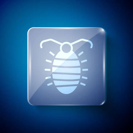 White Larva insect icon isolated on blue background. Square glass panels. Vector