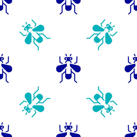 Blue Insect fly icon isolated seamless pattern on white background. Vector