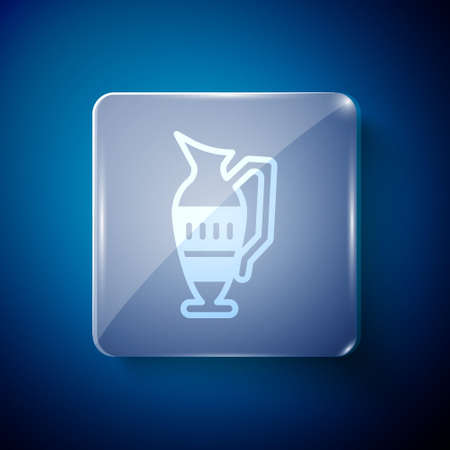 White Ancient amphora icon isolated on blue background. Square glass panels. Vector