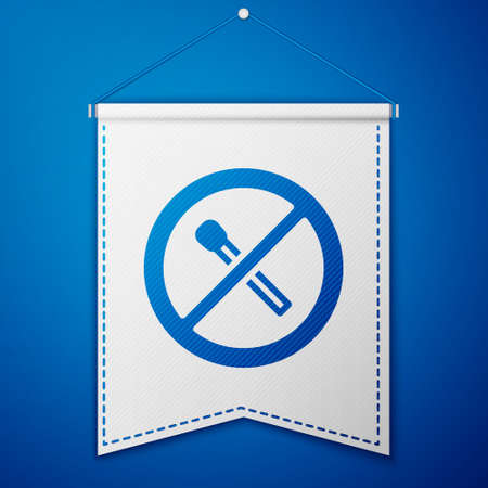 Blue No fire match icon isolated on blue background. No open flame. Burning match crossed in circle. White pennant template. Vector