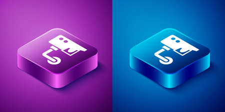 Isometric Security camera icon isolated on blue and purple background. Square button. Vector