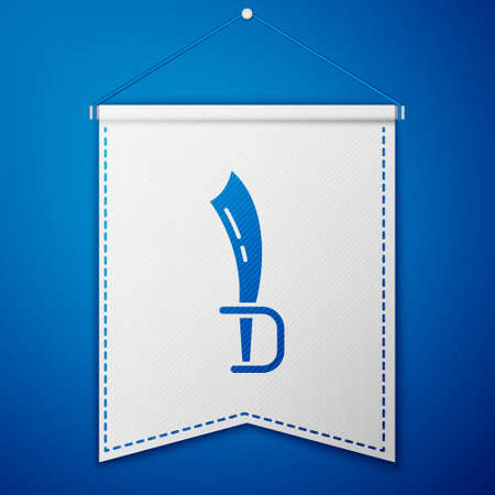 Blue Pirate sword icon isolated on blue background. Sabre sign. White pennant template. Vector Illustration
