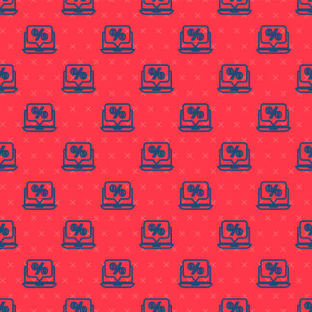 Blue line Percent discount and laptop icon isolated seamless pattern on red background. Sale percentage - price label, tag. Vector Illustration