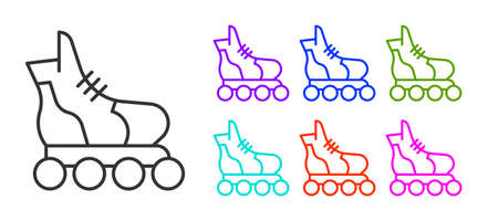 Black line Roller skate icon isolated on white background. Set icons colorful. Vector