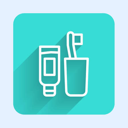 White line Toothbrush and tube of toothpaste icon isolated with long shadow. Disposable bathroom supplies. Green square button. Vector