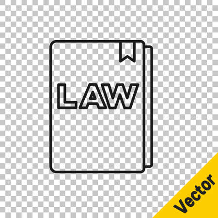 Black line Law book icon isolated on transparent background. Legal judge book. Judgment concept. Vector