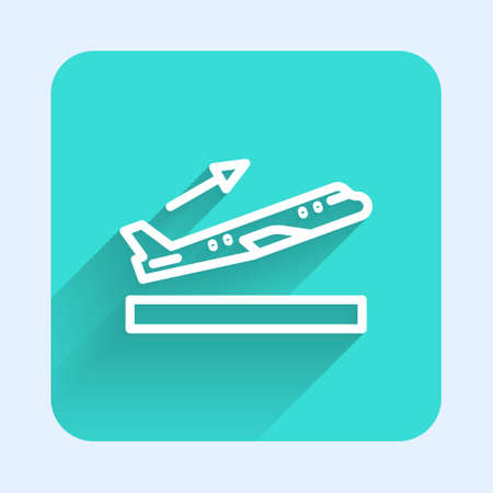 White line Plane takeoff icon isolated with long shadow. Airplane transport symbol. Green square button. Vector