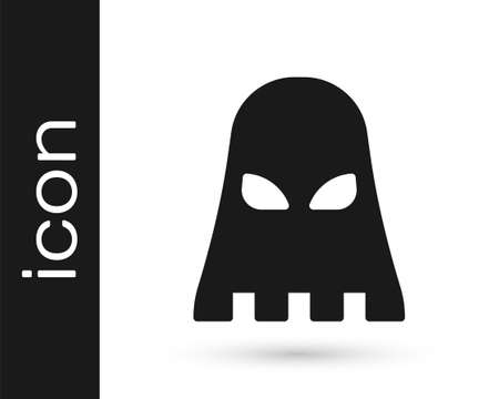 Black Executioner mask icon isolated on white background. Hangman, torturer, executor, tormentor, butcher, headsman icon. Vector