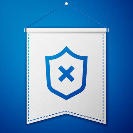 Shield with cross mark icon isolated on blue background. Shield and rejected. Notice of refusal. White pennant template. Vector