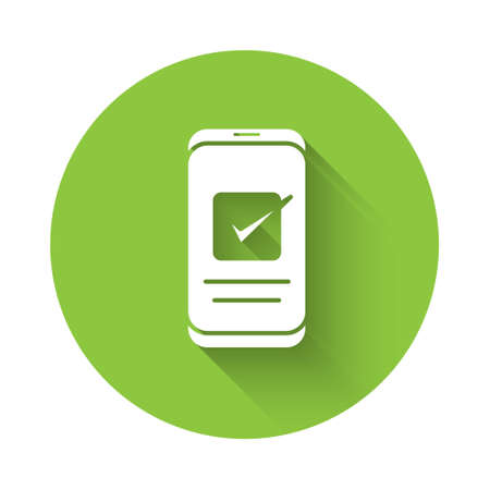 White Smartphone, mobile phone icon isolated with long shadow. Green circle button. Vector