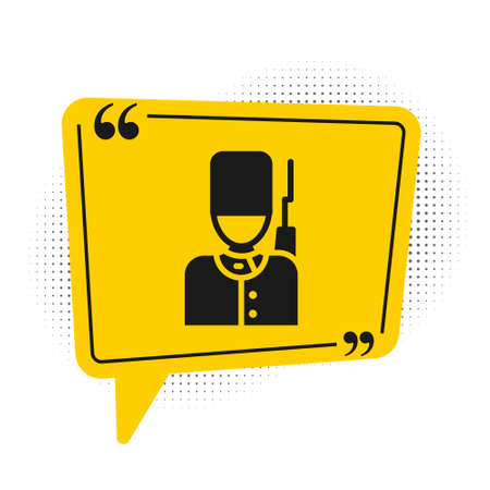 Black British guardsman with bearskin hat marching icon isolated on white background. Yellow speech bubble symbol. Vector