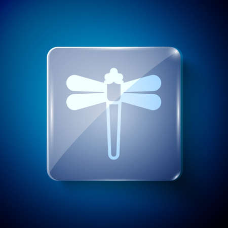 White Dragonfly icon isolated on blue background. Square glass panels. Vector 向量圖像