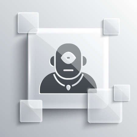Grey Cyclops icon isolated on grey background. Square glass panels. Vector