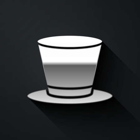 Silver Cylinder hat icon isolated on black background. Long shadow style. Vector Vectores