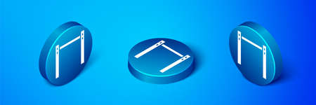 Isometric Sport horizontal bar icon isolated on blue background. Blue circle button. Vector