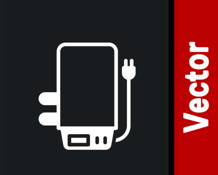 White Electric boiler for heating water icon isolated on black background. Vector
