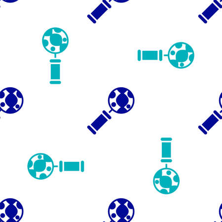 Blue DNA research, search icon isolated seamless pattern on white background. Magnifying glass and dna chain. Genetic engineering, cloning, paternity testing. Vector